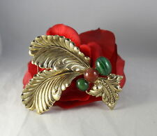 Vintage Green Burgundy Cabachons Gold tone Feathers Pin Brooch Cat Rescue