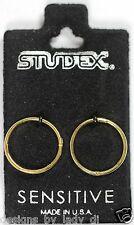 Smooth Sleepers Hinged Gold Plated Hoop Earrings Studex Sensitive 18GA 1/2 Inch