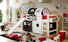 Lit mezzanine avec toboggan THEO R Hêtre massif teinté blanc tissus Pirate Noir-