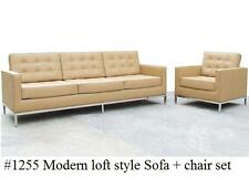 2PC button Loft Leather Sofa  & Chair set #1255 in black or white