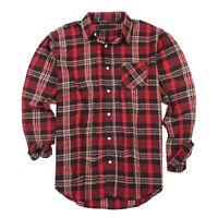 Mens Flannel Shirts Long Sleeve Buffalo Plaid Button Down Shirt Men Casual Dress