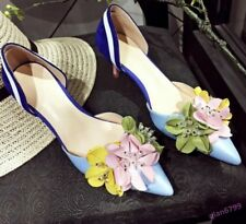 Fashion Women's Lace Up Shoes Kitten Heel Patent Leather Pointy Toe Flower Beach