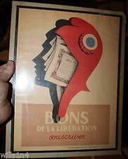 French Original WWII Military Bond Subscription Poster Ansieau Roland
