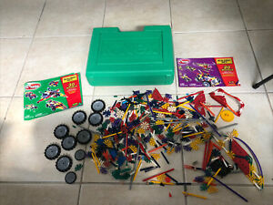 Green Knex Lot Storage Box Case with Mix Lot 2+ lbs of K'nex Pieces + 2 Manuals