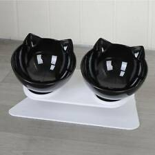 Cat Double Bowls Pet Dog Food Water Bowl Feeder Dual Angle with Raised Stand UK