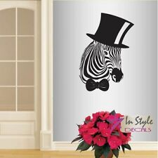 Wall Vinyl Decal Funny Zebra in Hat and Bow Tie Animal Wall Art Sticker 140