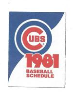 1981 Chicago Cubs Tri Fold Pocket Schedule Old Style Beer