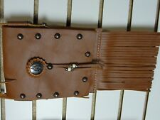 Leather Cross body Purse with Fringe and Copper studs and concho