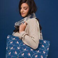 Maxi Large Oversize Canvas Blue Red Robin Print Shopper Tote Beach Bag