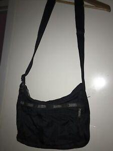 Vtg Lesportsac Womens Black Nylon Medium Shoulder Crossbody Purse bag Pockets