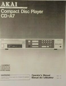 Akai CD-A7 - Compact Disc CD Player - Operating Instructions - USER MANUAL