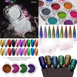 Nails Glitter Powder Holographic Mirror Nail Art Chrome Pigment Decorations Tips