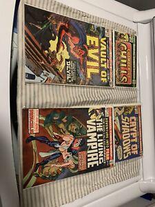 Comic Books Vampire, Crypt, Chills, Evil 4 Tot Comic Book Estate. Under Plastic.