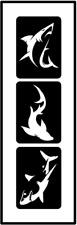 Glitzer Tattoo Schablonen 3 teilig Shark, Airbrush