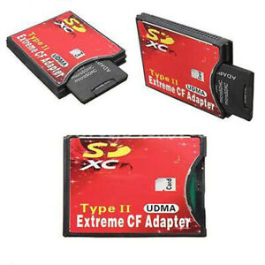 SD SDHC SDXC To CF Type II Extreme Compact Flash Memory Card Adapter Protable