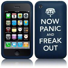 For iPhone 3/3GS Now Panic & Freak Out Rubber Silicone Skin Case Cover - Blue