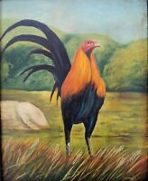 """Rooster Chicken hen Cock game bird Mexico Original  Oil Painting canvas 16""""x20"""""""