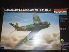 VINTAGE MONOGRAM sans Adoucisseur Kit Plastique d'un Canadair CL.13 sabre mk5, boxed