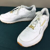 Used Reebok Classic White Memory Tech 2.0 Mens White Sneakers Shoes sz 9.5 US