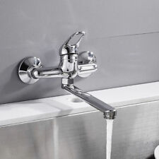 Modern Wall Mounted Kitchen Sink Mixer Faucets Tap Single Lever Brass Chrome