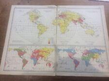 1942 Vintage John Bartholomew Atlas Map 20� World Population Races & Religions