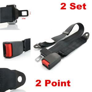 2 Set Car Universal Adjustable 2 Point Retractable Safety Seat Belt Lap Belt Kit