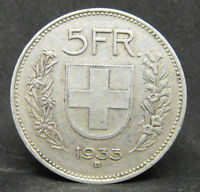 SWITZERLAND 5 FRANCS 1933 SUISSE SILVER COIN  #977