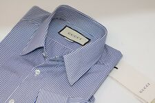 New Gucci Men's Blue White Bengal Stripe Shirt 15.5 Slim Fit Button Formal Italy