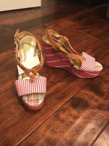 "Coach Pink ""Gwynn"" Striped Slingback Wedge Platform Heels, Size 8"
