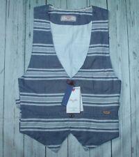 men's NWT Zara Man Denim Couture 5-btn cotton vest in blue/white stripe-M