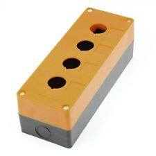 Yellow Black Plastic 22mm Hole 4 Push Button Switch Control Station Box