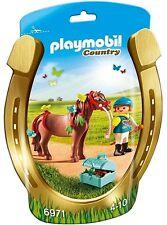 BNIP Playmobil 6971 PONY FARM Groomer with Butterfly Pony