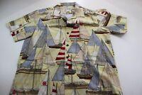 Punahou Apparel Made In Hawaii Sailboat Short Sleeve CAMP SHIRT Medium M