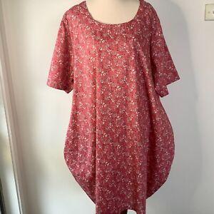 Lisa B Dress Pink Floral Size XL Lagenlook Cocoon Dress Short Sleeves Cotton