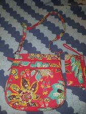 Vera Bradley Large Coss Body Purse Handbag With Matching Wallet Red Floral Multi