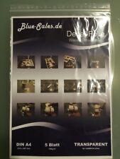 5 Blatt Decalfolie DIN A4, transparent, für Laser-Drucker, Wasserschiebefolie