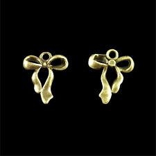 50 Antique Bronze Ribbon Bowknot Charms Pendants Wholesale Joblot 18x23mm