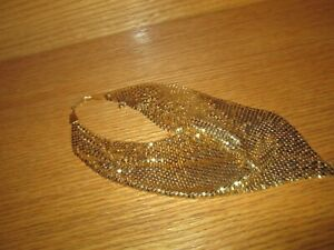 Gold Tone Metal Mesh Chain Mail  Necklace