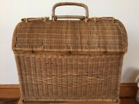 Vintage Rattan Wicker Rounded Domed Top Open Picnic Storage Basket Rustic Decor