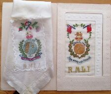 WW1 Silk Greetings Post Card  - ROYAL MARINES LIGHT INFANTRY + SILK HANDKERCHIEF