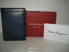 $320 NEW Salvatore Ferragamo Blue Leather Bifold ID Credit Card Cash Case Wallet