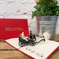 Handmade 3D Pop Up Love Wedding Carriage Couple Anniversary Greeting Card Gift