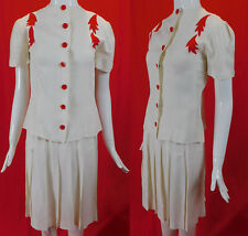 Vintage White Silk Crepe Red Leaf Applique Suit Dress Swing Skirt Button Blouse