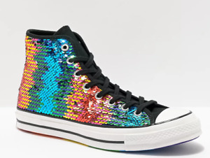 Unisex Converse Chuck 70 Pride Shoes Size 7 Women/5 Men Rainbow/Silver LGBTQ