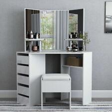 Modern Mirrored Dressing Table Makeup Vanity Storage Desk Bedroom with 2 Drawers