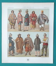 SOUTH AMERICA Costume of Spanish Creole Chile Indians - COLOR Print A. Racinet