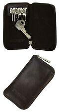 Brown Key Chain Wallet Purse 6 Key Hooks Holder zip Leather slim velvet interior