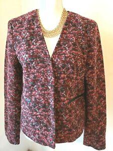 Ann Taylor Womens Wool Blend Blazer Jacket Burgundy Gray Long Sleeve Large L