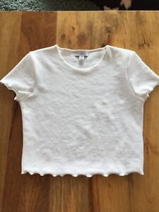 Topshop Crop Textured Rib Stretch Creamy Top T-shirt Cruise Holiday 10 Small