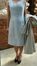 💕Vintage silk pale blue/green dress Coat suit set 50s-60s mid century size10-12
